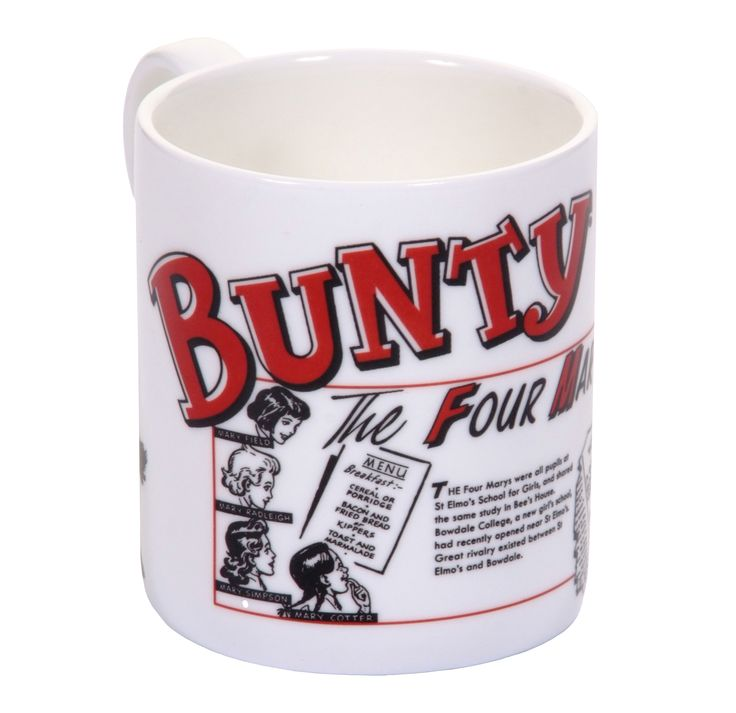 Novelty print Bunty comic mug. Available on Etsy https://www.etsy.com/uk/listing/261322280/bunty-comic-school-cook-mug?ref=shop_home_feat_4