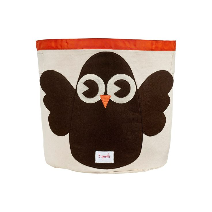 3 Sprouts Canvas Extra Large Round Storage Bin - Owl,