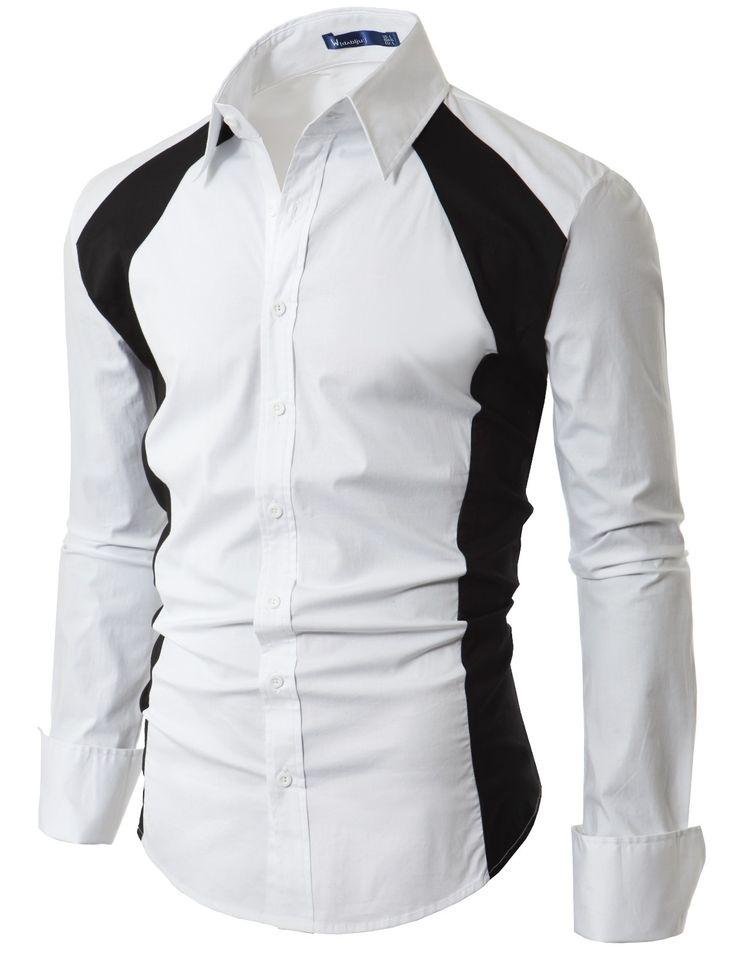 Mens Casual Line Point Slim Dress shirt (EL19)