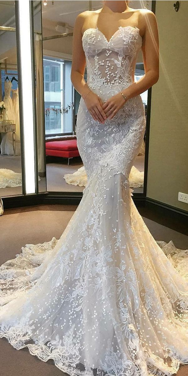 Real Sample See Through Corset Lace Beads With Long Train Mermaid Wedding Dress Lace Mermaid Wedding Dress Wedding Dresses Lace Online Wedding Dress