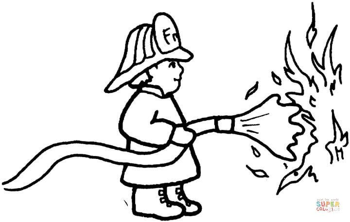 Fireman Puts Out The Fire Coloring Page Free Printable Coloring Pages Coloring Pages Free Coloring Pages Free Printable Coloring Pages