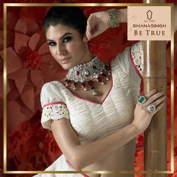 Jewellery that speaks pride! One of #MahekaMirpuri's  collection for #GhanasinghBeTrue which is made for the woman of today.