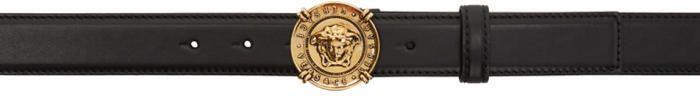 Versace Black and Gold Medusa Medallion Belt