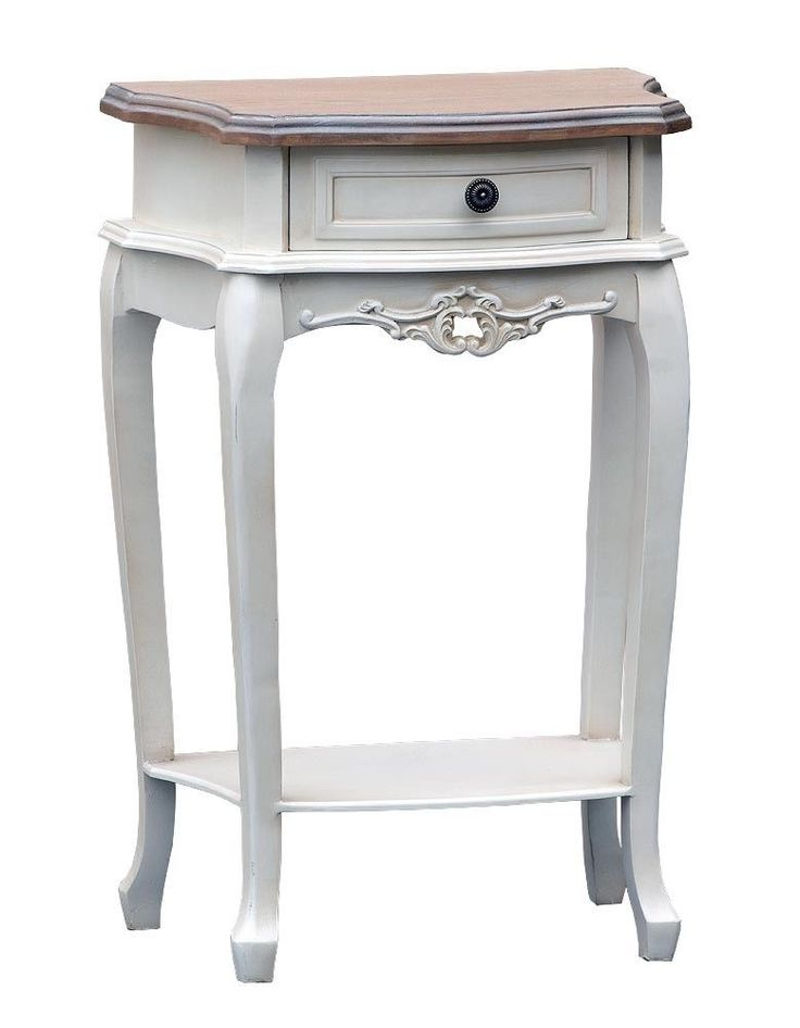 French Style Shabby Country Chic ANTIQUE WHITE ONE DRAWER BEDSIDE TABLE LAMP