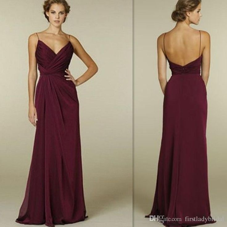 Burgundy Bridesmaid Dresses 2016 Cheap Sexy Deep V Neck Spaghetti Straps Open…