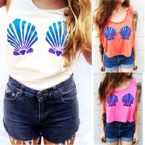 Verkäufe Meerjungfrau Bh Frauen Sommer Top Sleeveless Crop Tops T-Shirt für Frauen Casual T-shirt