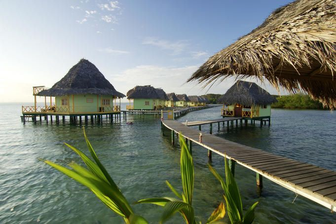 take me away!  Over-water bungalows on Isla Colon, one of the islands in the Bocas del Toro archipelago in Panama