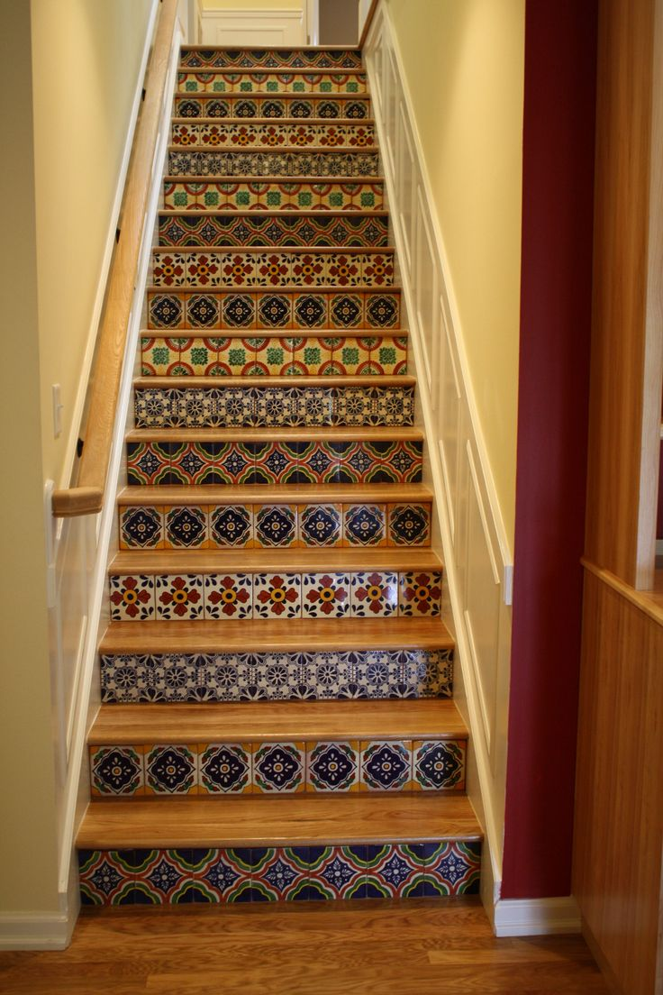Talavera Tile Mixed With Wood Stairs Tile Pinterest
