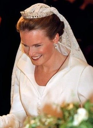 Princess Mathilde on her wedding day to Prince Philippe, Duke of Brabant