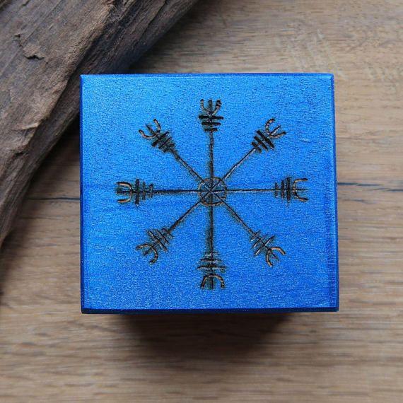 Helm of Awe rune box Viking rune chest Viking box painted
