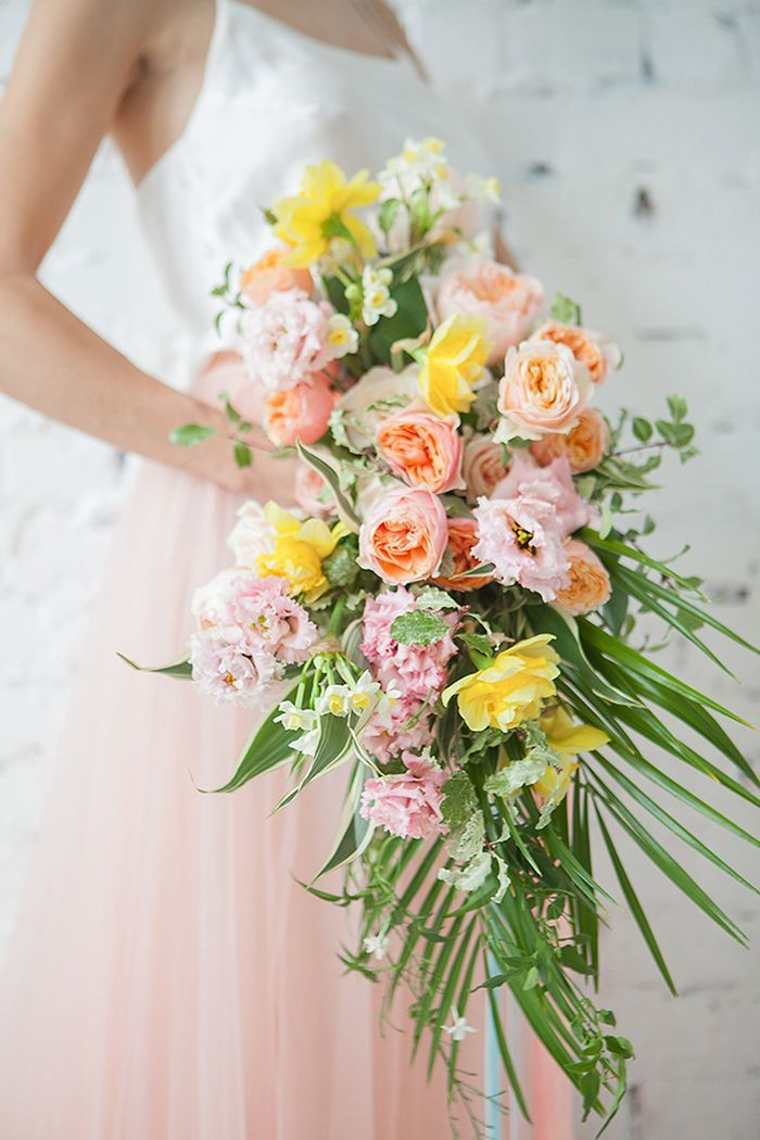 Bright Tropical Bouquet in Pink and Yellow