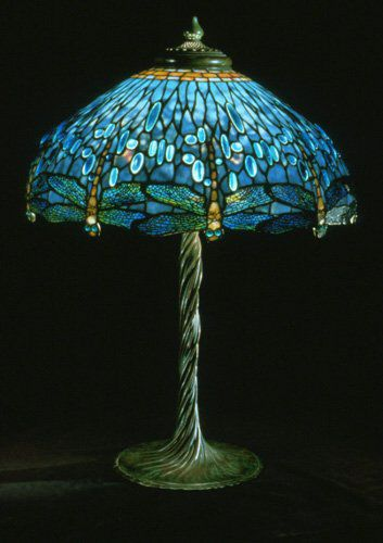 "Fabulous and rare antique Tiffany Studios lamp with a blue ""drop head Dragonfly"" shade with oval glass ""jewels."". It also has a very desirable and valuable ""twisted vine"" base. Museum quality."