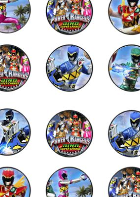 FREE Power Ranger Dino Charge Birthday Party cupcake toppers, banner, and water bottle label Printables