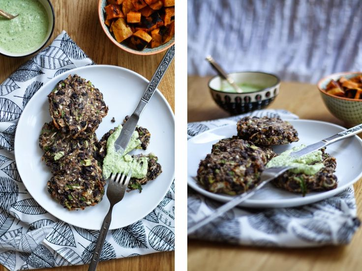BAKED BLACK BEAN AND CABBAGE PATTIES WITH A CILANTRO, LIME + CASHEW CREMA