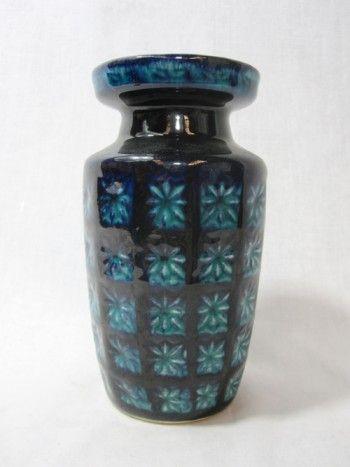 Blue Flowered West German Vase