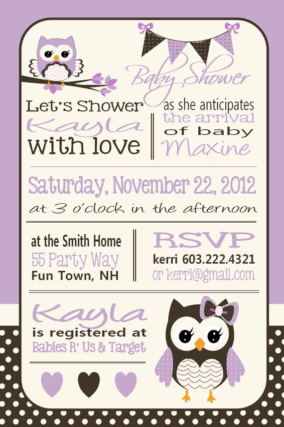 Owl Baby Shower Invitation Owl Bunting by AsYouWishCreations4u