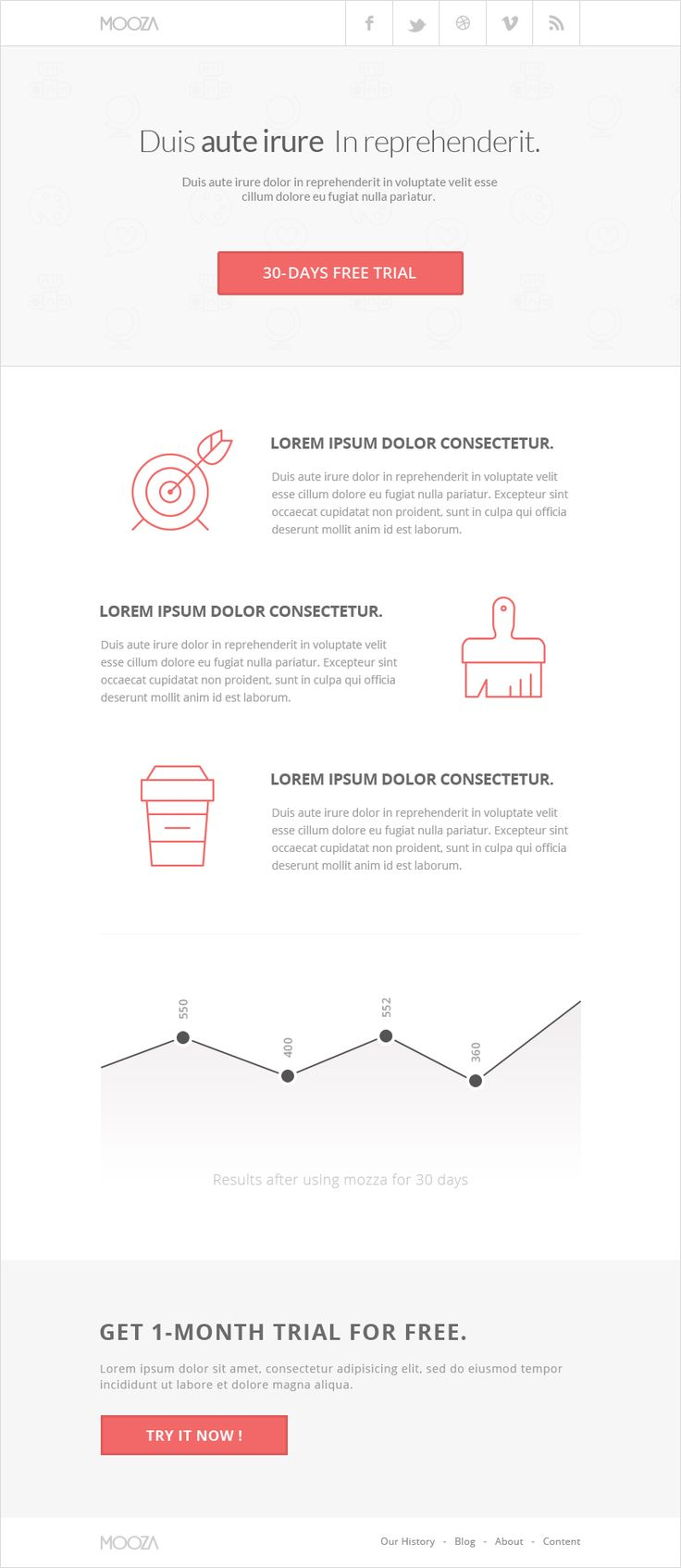 Mooza - Clean, minimal and pixel perfect PSD email newsletter template, made with attention to details, the layers are well organised, well named and grouped so you can made changes you like easily.