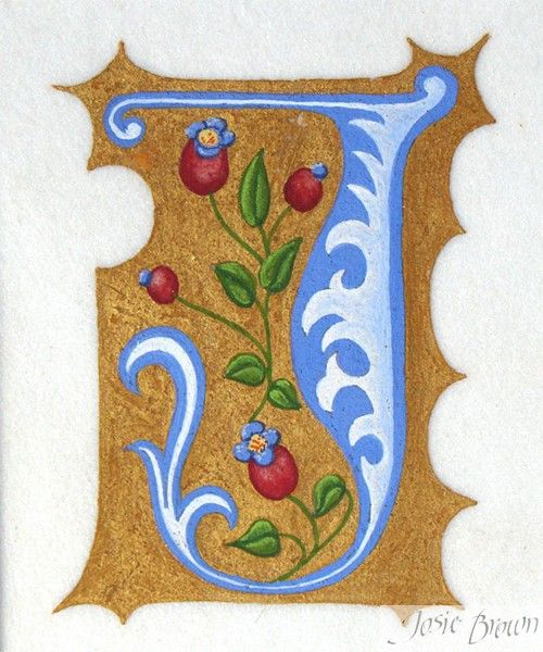 Josie Brown Calligraphy Heraldry Illumination ~ Gilding Gallery - letter j