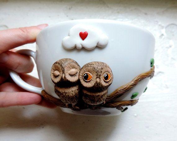 Taza encantadores búhos lindos tazas taza de buhos de amor