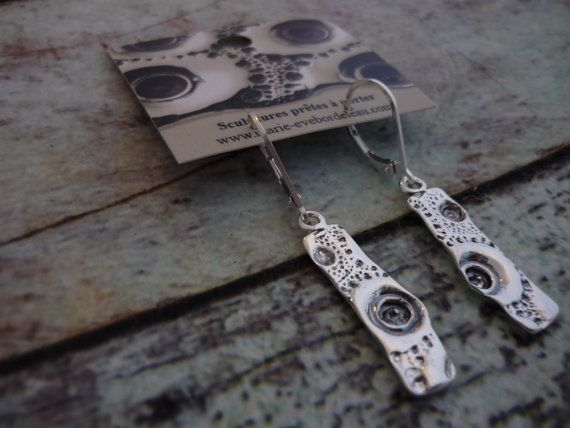 Sterling silver rectangle earrings  Boucle d'oreilles