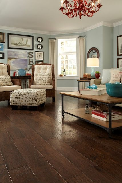 I love these wide plank floors and the dark color