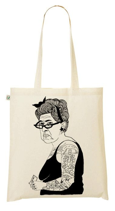 tote bag with an old tattooed rockabillylady using her buss pass on public transport.