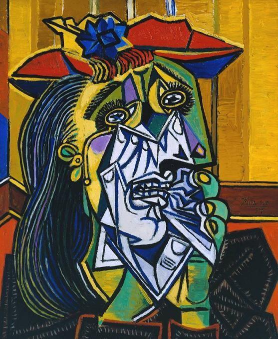 Mujer llorando de Pablo Picasso. Me gusta esta obra por la gran expresividad que consigue transmitir con el  característico estilo de Picasso al pintar. Consigue transmitir la desolación y tristeza con los ojos rotos por la pena, además  de la zona colores más fríos alrededor de la boca y los dientes, que nos sugieren las lágrimas y el llanto.