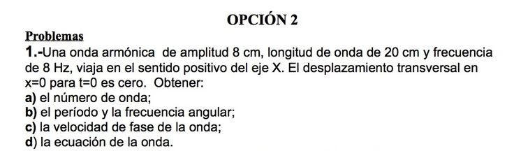 Ejercicio de Movimiento Ondulatorio propuesto en el examen PAU de Canarias de 1998, Opción 2.