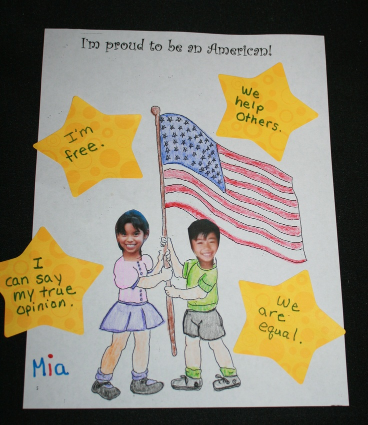 this art activity is a good way to teach why we say the Pledge of Allegience, what it means to be an American, or Flag day