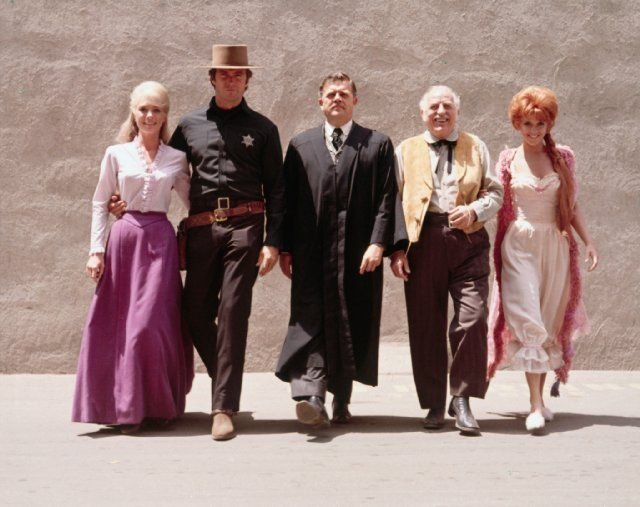 "Main Cast Photo for the 1968 film ""Hang 'Em High"". Seen here (L to R) are Inger Stevens, Clint Eastwood, Pat Hingle, Ed Begley and Arlene Golanka"