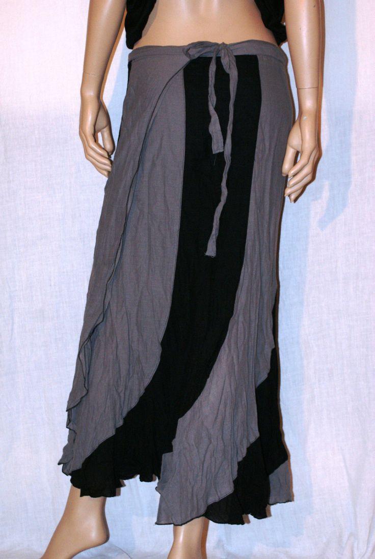 Gipsy Back!! Amazing Cotton Maxi Skirt Black&Grey One Size Maxi Gonna Lunga Mare Hippie Gipsy Bi-Colore Nero Grigio Tela Cotone Taglia…
