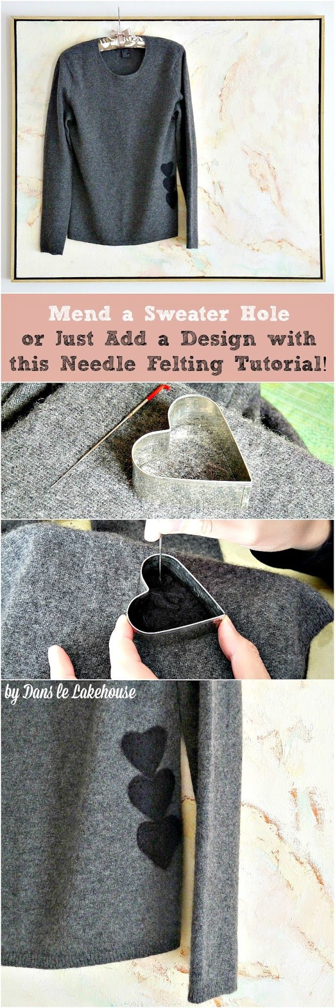 How to use needle felting techniques to update, decorate or even mend a hole in a wool sweater // How to mend a sweater hole in style!