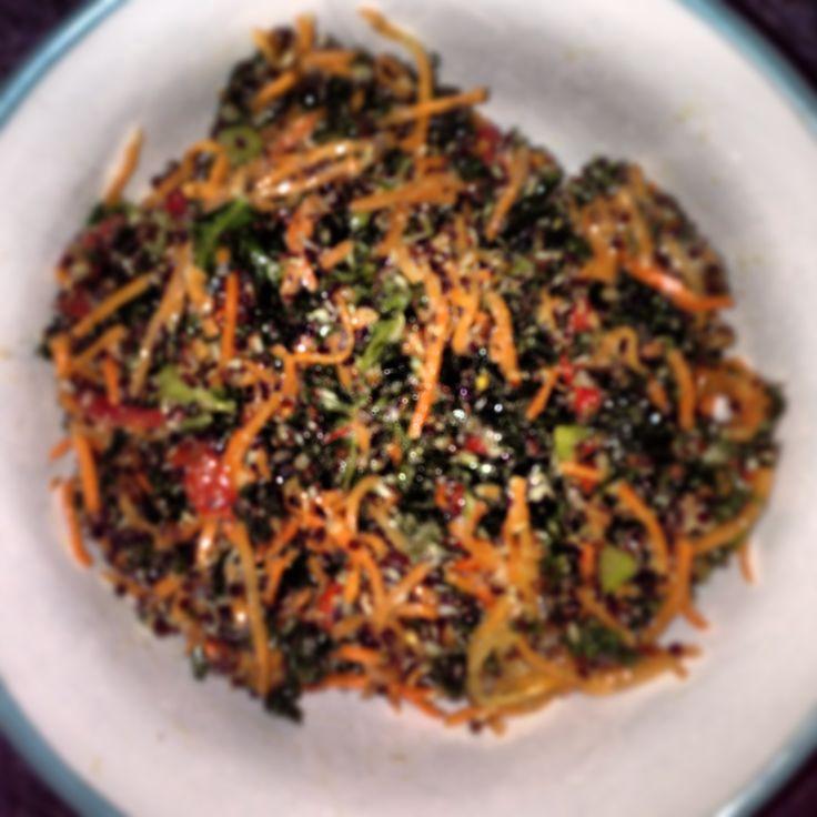 Kale Salad. #kale #carrot #quinoa #capsicum #tahini #healthy #natural