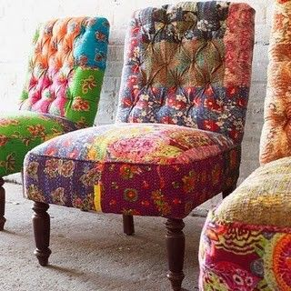 Aren't these chairs FUN!?: Decor, Ideas, Dining Room, Style, Color, Chairs, Patchwork Chair, Funky Chair, Furniture
