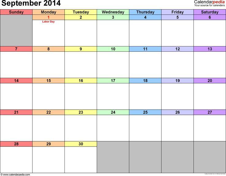 September 2014 calendar printable template