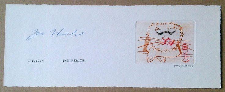 Czech avant-garde theater JAN WERICH PF 1977 illustrated Ota Janecek signed