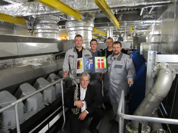 A German/Danish PrimeServ team during the handover of the Fast Ferry M/V Leonora Christina. Built in Australia and operating between Denmark and Sweden.
