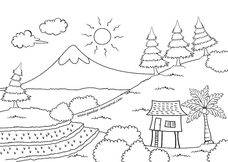 Gambar Mewarnai Pemandangan Gunung Free Kids Coloring Pages Coloring Books Art Drawings For Kids