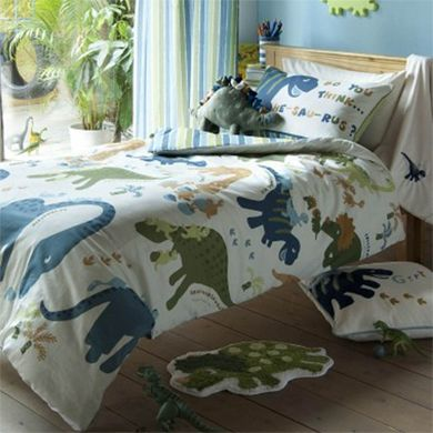 Dinosaur room love this bedding not too babyish not to for T rex bedroom decor