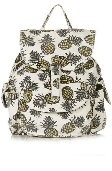Topshop Pineapple Print Denim Backpack