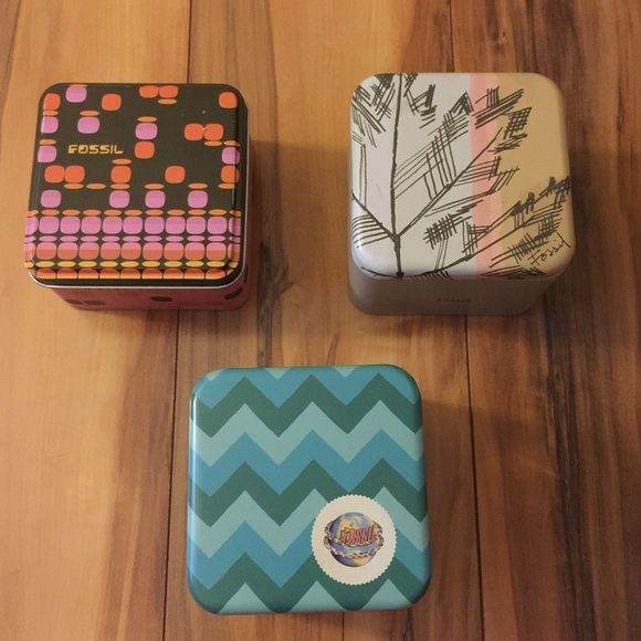 """Fossil Watch Box Bundle Bundle of 3 Fossil watch boxes! Boxes ONLY no watches included. Measure approx 3.5"""" X 3.5"""" X 2"""". Excellent condition! Fossil Accessories"""