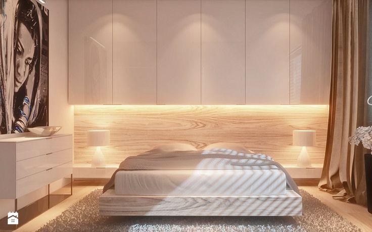 Dąb bielony z połyskliwą bielą - zdjęcie od Ludwinowska Studio Architektury - Sypialnia - Styl Minimalistyczny - Ludwinowska Studio Architektury