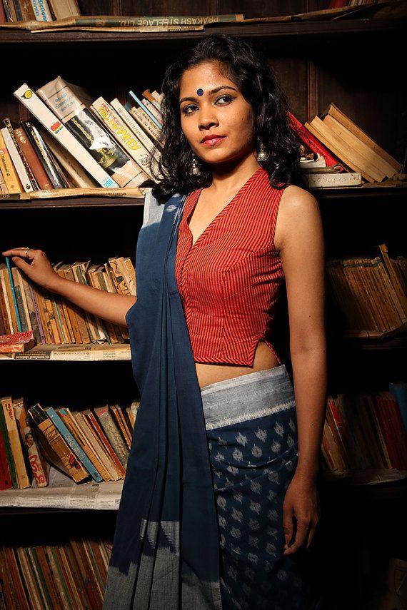 Pretty cotton saree and blouse