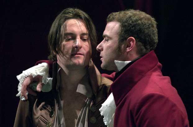 Liev Schreiber as Iago at the Public theater NYC. provoking his Roderigo.