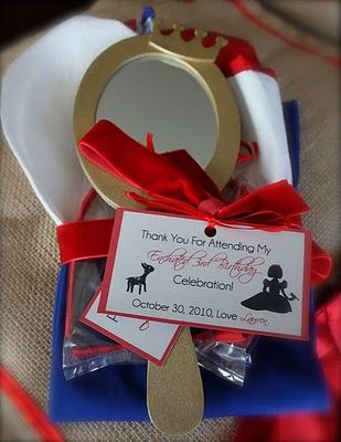 """give the girls little mirrors to decorate, along with red bow headbands like Snow Whites ~ make sure they know they are """"the fairest of them all."""" The mirrors where found at Hobby Lobby (could give a cape too)"""