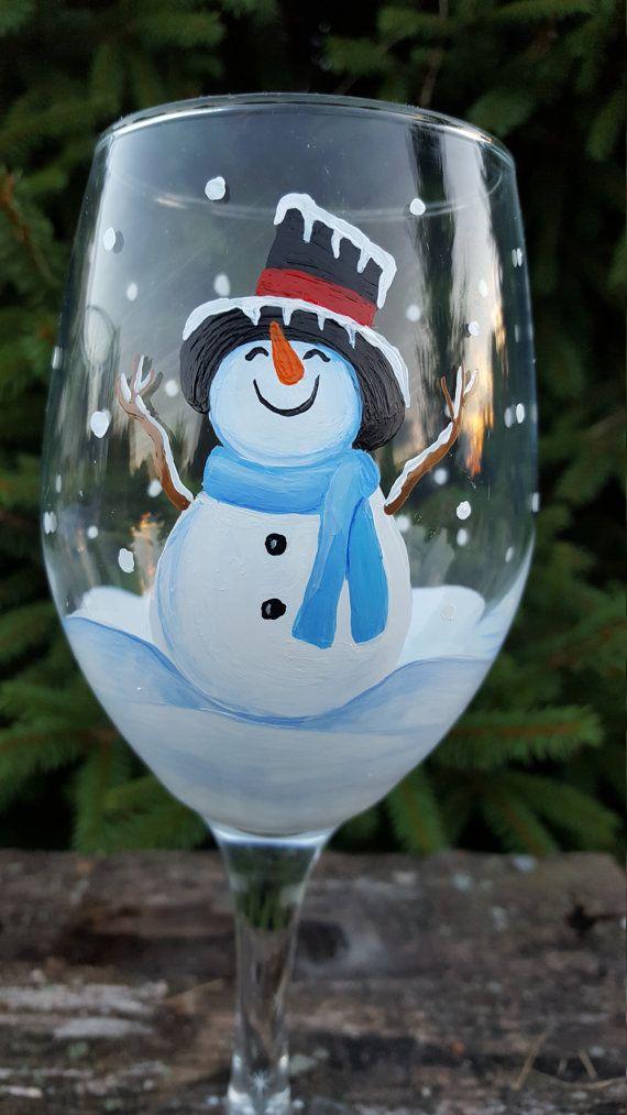 Muñeco de nieve de Copa de vino 1 mano Copa de vino muñeco