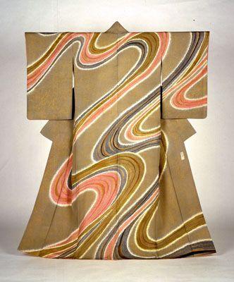 Yuzen kimono by National Living Treasure of Japan, MORIGUCHI Kako (1909-2008) 森口華弘