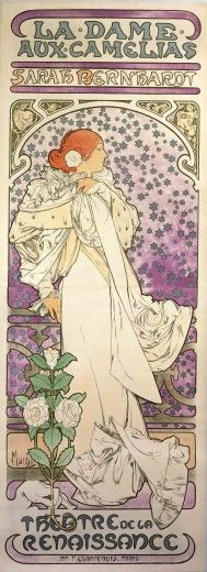 A full-length Bernhardt leans against a balustrade in a white gown with a camellia in her hair and a camellia plant at her feet. Her face is in profile and framed with silver stars against a mauve background. The words La Dame aux Camélias and Sarah Bernhardt feature at the top of the poster, and Théâtre de la Renaissance at the bottom.