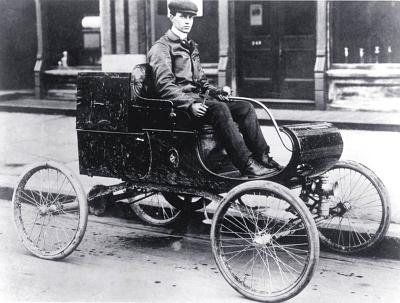 "The first automobile to be mass produced in the United States was the 1901, Curved Dash Oldsmobile, built by the American car manufacturer Ransome Eli Olds (1864-1950). Olds invented the basic concept of the assembly line and started the Detroit area automobile industry. He first began making steam and gasoline engines with his father, Pliny Fisk Olds, in Lansing, Michigan in 1885. . He produced 425 ""Curved Dash Olds"" in 1901, and was America's leading auto manufacturer from 1901 to 1904."