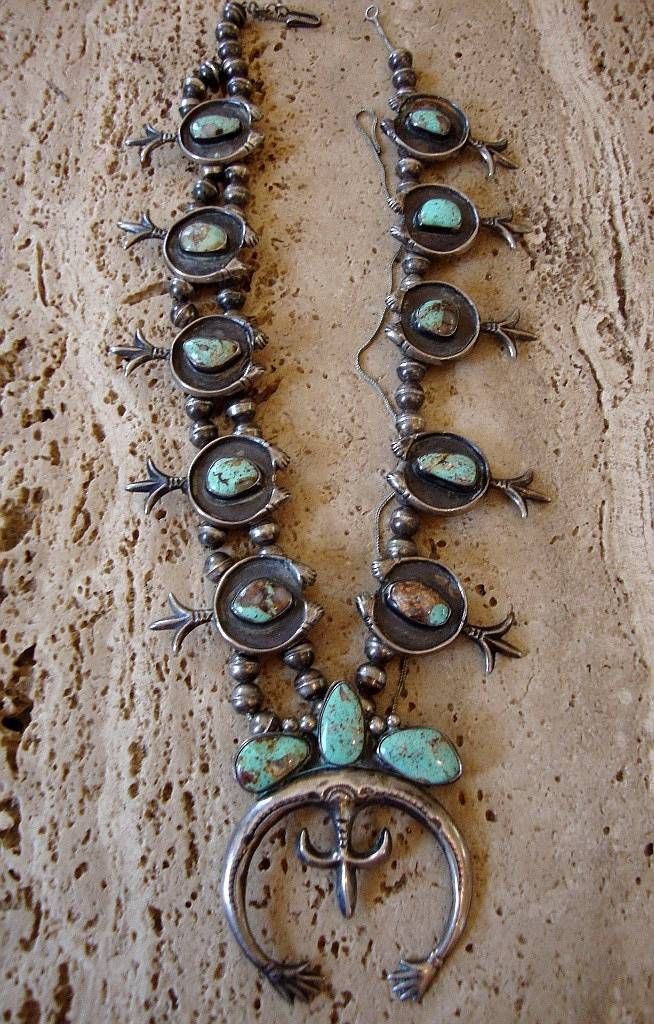 Very Old Museum Squash Blossom Necklace Cast Sterling Turquoise Restring 204 GR | eBay